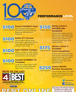 2019 Performance Level Instruments Flyer